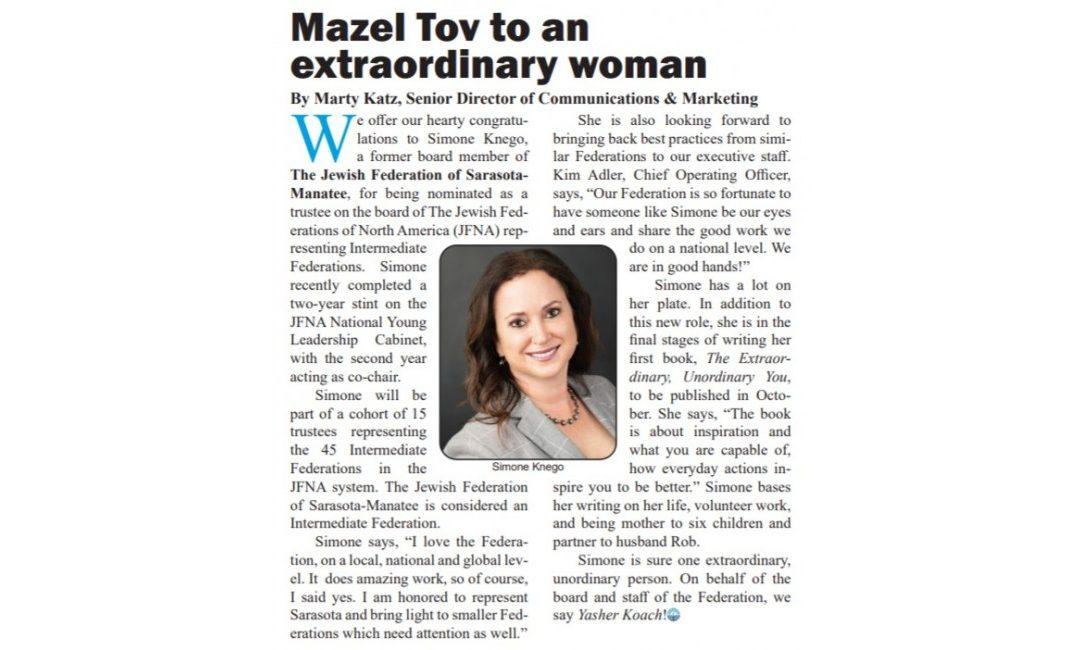 Mazel Tov to an extraordinary woman